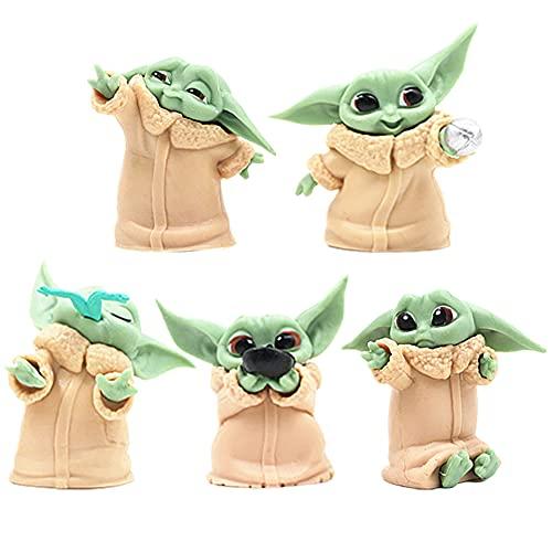 BKJJ Juego de Mini Figuras Baby Yoda Cake Topper Decoración de Pastel Baby Yoda Suministros para Fiesta Niños de Cumpleaños Figuras de Cupcakes Baby Yoda Figura de Acción 5pcs