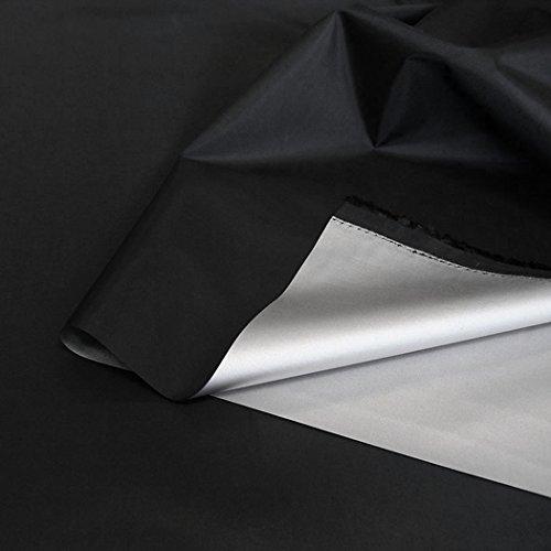 TOLKO Sonnenschutz Stoff mit Silber Thermo-Beschichtung | Verdunklungsstoff mit hoher Lichtdichte | Fensterfolie Hitzeschutz Verdunklungsfolie für Verdunklungsvorhänge Gardinen Meterware (Schwarz)
