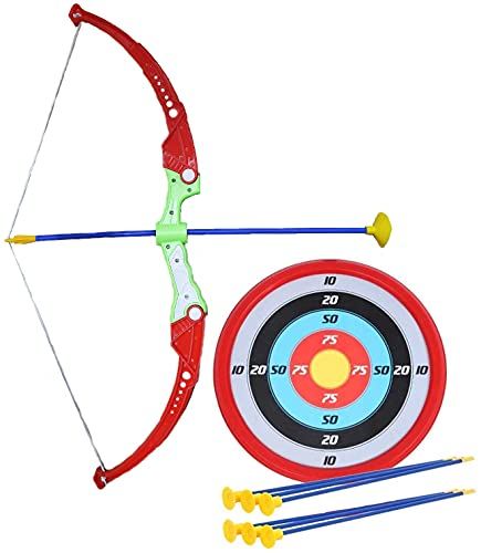 Amitasha Archery Bow and Arrow Target Game Indoor/Outdoor Toy for Kids,Durable Plastic,Multi color(Pack of 1 set)