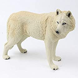 Longpro Realistic Large Wolf Statue Figurine Toy PVC Wildlife Zoo Animal Model Action Figures Playset Kids Education Collectibles Gift Handmade(White)