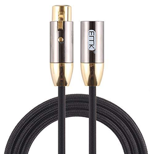 Sevenplusone Licht en mooi, gemakkelijk te dragen. EMK XLR Mannelijke naar Vrouwelijke Vergulde Plug Katoen Gevlochten Cannon Audio Kabel voor XLR Jack Devices, Lengte: 1m, Eenvoudig en praktisch (Zwart), Zwart