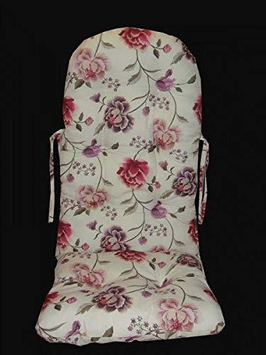 Sedia a dondolo – Cuscino bianco/rosa, 120 x 50 cm, produzione tedesca