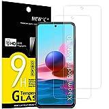 NEW'C 2 Unidades, Protector de Pantalla para Xiaomi Redmi Note 10, Note 10S, Note 10 5G Antiarañazos, Antihuellas, Sin Burbujas, Dureza 9H, 0.33 mm Ultra Transparente, Vidrio Templado Ultra Resistente