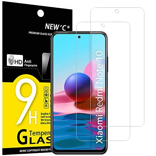 NEW'C 2 Pezzi, Vetro Temperato per Xiaomi Redmi Note 10, Note 10S, Note 10 5G Pellicola Prottetiva Anti Graffio, Anti-Impronte, Senza Bolle, Durezza 9H, 0,33mm Ultra Trasparente, Ultra Resistente