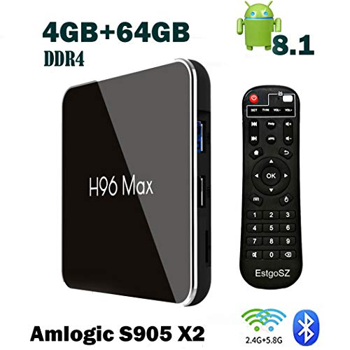 Android 8.1 TV Box H96 Max X2 4GB DDR4 Ram 64GB ROM EstgoSZ Smart 4K TV Box Amlogic S905X2 CPU Support HDMI 2.1 H265 VP9 Video Decoding Dual WiFi 2.4G 5.0G100M Ethernet BL4.0 USB3.0 Android Box