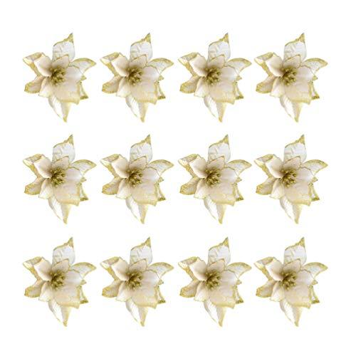 Healifty 24 Piezas de Flores de Pascua de Brillo de Navidad Flores de Corona Artificial para Adornos de árbol de Navidad decoración (Dorado)