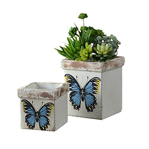 Maceta de cerámica con diseño de flores de mariposas, decoración de jardín de campo francés,...