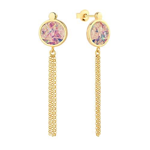 Pendientes para mujer de plata 925 y oro. Joyas: joyas de oro y plata para mujeres o niñas. ónix natural, turquesa, nácar, ágata, ópalo, malaquita y ámbar.