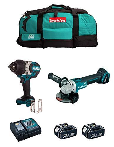 MAKITA Kit MK214 (Llave de Impacto DTW1002 + Mini-Amoladora DGA504 + 2 Baterías de 5,0 Ah + Cargador + LXT600)