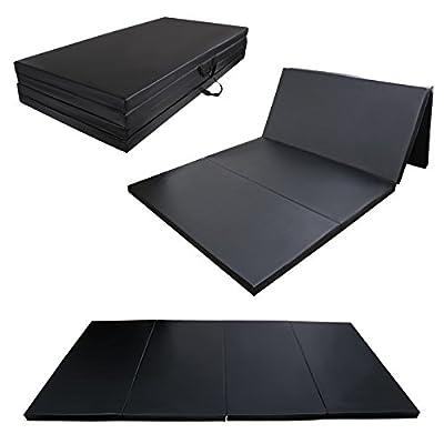 "4' x 8' x 2"" Gymnastics Gym Folding Exercise Aerobics Mats Stretching Yoga Mat Black"