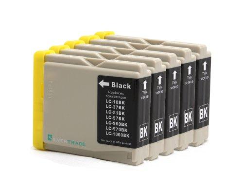 5x schwarz Patronen kompatibel zu Brother LC1000BK LC970BK für Brother DCP - 130C 135C 150C 155C 330C 350C 540CN 560CN 750CW 770CW MFC - 230C 235C 240CN 260C 440CN 465CN 660CN 665CW 680CN 685CW 345CW 885CW 3360 5460CN 5860CN Brother Fax-1360 Fax-2480C
