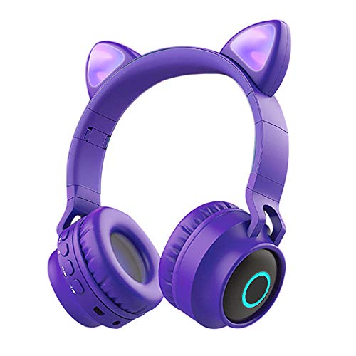 Auriculares Bluetooth para Niños con Micrófono,Funwaretech Auriculares Inalámbricos con Orejas de Gato,Estéreo de Alta Fidelidad para iPhone Android PC de Niña(Morado)