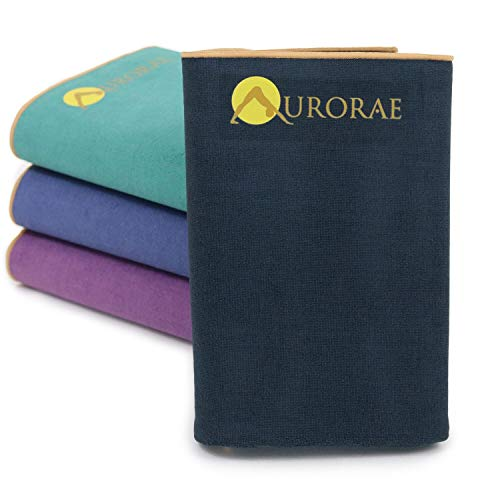 Aurorae Synergy Foldable On-the-Go Travel Yoga Mat; A Yoga Mat for Yogis on the Move with Integrated Microfiber Towel and Anti-Slip Patented Synergy 2-in-1 Technology for Hot and Active Yoga