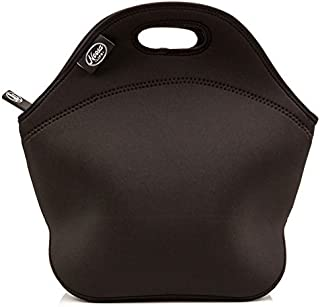 Noosa Life LARGE Neoprene Lunch Bag Insulated Tote - 5 Design Options - Heavy Duty Zipper - Premium Stitching -13 x 12.5 x 6.5 inches - Lunch Bag for Men Women Kids - Best Travel Bag (Black)