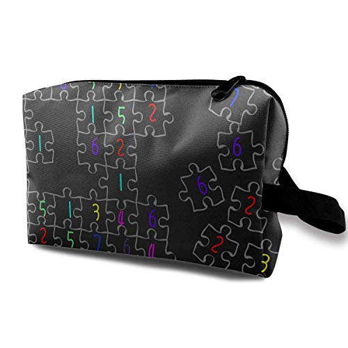 Sudoku Jigsaw Puzzle Pattern Portable Travel Storage Bags Lage Cosmetic Packing Bag with Zipper for Travel Cubes Set for Travel