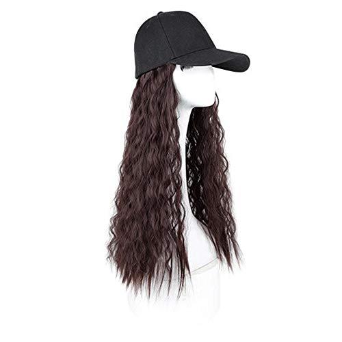 Gorras de peluca - Sombrero de la peluca - Moda de verano de la sombrilla larga de las señoras de pelo rizado gorra de plato de una sola pieza de la peluca tapa tiene 3 colores peluca for elegir La ta