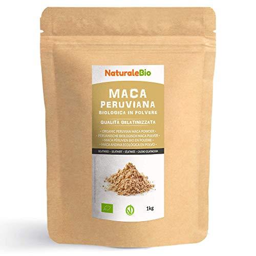 Maca Bio en Poudre [ Gélatinisée ] 1kg. Organic Peruvian Maca Root Powder. 100% Biologique, Naturel et Pur, Produit au Perou de Racine de Maca Bio. NaturaleBio