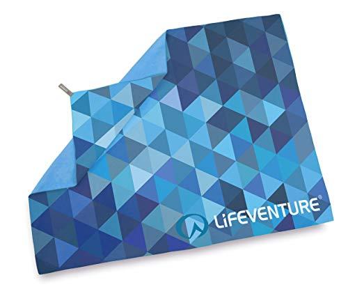 Lifeventure - Serviette de Trekking en Fibre Souple - Taille géante (triangulaires Bleus) - Unisexe