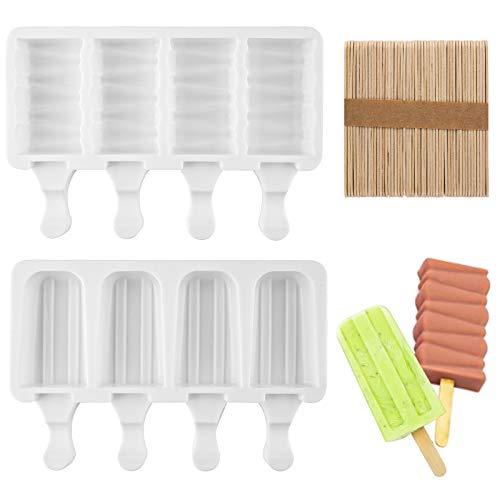 Moldes Helados 2 Molde Helado Silicona con palo 4 Cavity Popsicle Moldes Pop Ice Lolly Mould Maker Molde Magnum para Niños con 50 unids Palos de Madera
