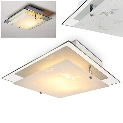 Plafondlamp Rabat Vierkant glas met bloemdecor - plafondplek met bloemmotief - E27 plafondlamp ideaal als spot woonkamer - plafondlamp keuken - plafondplek glas - indirect licht