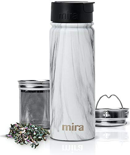 MIRA Stainless Steel Insulated Tea Infuser Bottle for Loose Tea - Thermos Travel Mug with Removable Tea Infuser Strainer - French Granite - 18 oz