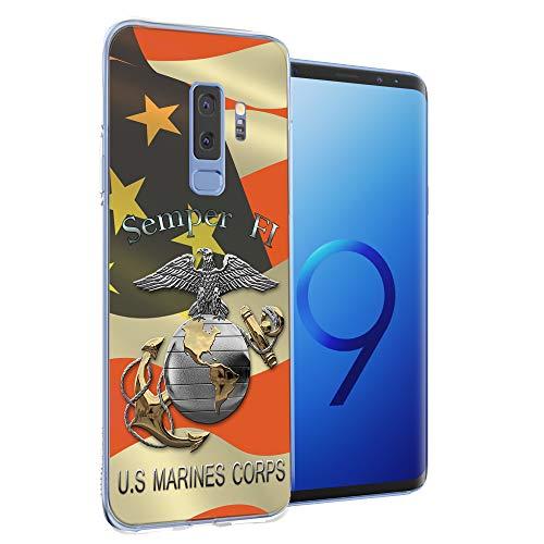 Fit for Samsung Galaxy S9 Plus Phone Case Cute Marine Corps USMC Design Protective Soft TPU Flexible Phone Cover for Galaxy s9 Plus Gift for Women Girls Men Anti-Drop-Scratch Shockproof Bumper