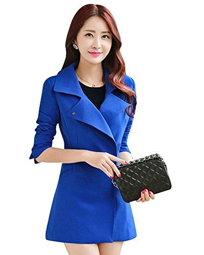 MissFox Elegante Slim Donne Lunga Manica Wind Coat Windbreaker Size L Zaffiro Blu