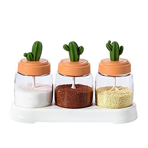 ATARSM Tarros de Especias Tarro de condimento de Cactus Salero Glutamato monosódico Juego de Tres Combinaciones Botella de Cocina Vidrio