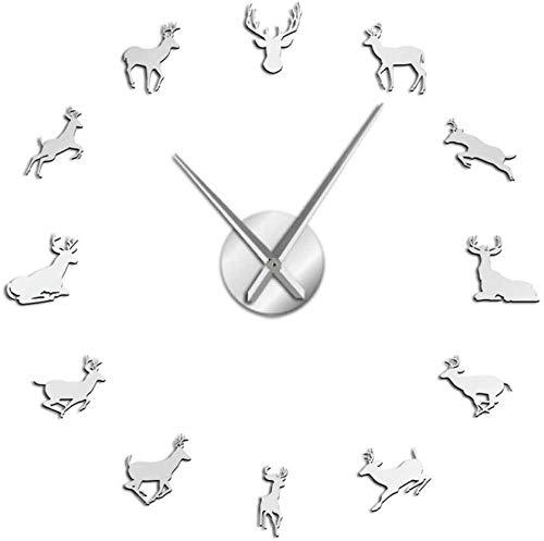 ZYZYY Reloj de pared con cabeza de ciervo de bricolaje gigante reloj de pared Woodland Antler reloj de pared acrílico espejo efecto animal decoración del hogar