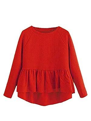 SheIn Women's Loose Round Neck Raglan Long Sleeve Ruffle High Low Hem Smock Top Medium #Red