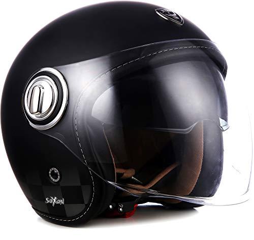 "SOXON® SP-888 ""Night"" · Jet-Helm · Motorrad-Helm Roller-Helm Scooter-Helm Moped Mofa-Helm Chopper Retro Vespa Vintage Pilot · ECE 22.05 Sonnenvisier Schnellverschluss SlimShell Tasche S (55-56cm)"