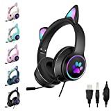 SHANGH AKZ-022 Gaming Wired Headset Cute Cat Ear Headset with 7.1 Surround Sound Headset with Noise Reduction Microphone, LED Light, Soft Earmuffs, Suitable for PC, Laptop Game Players