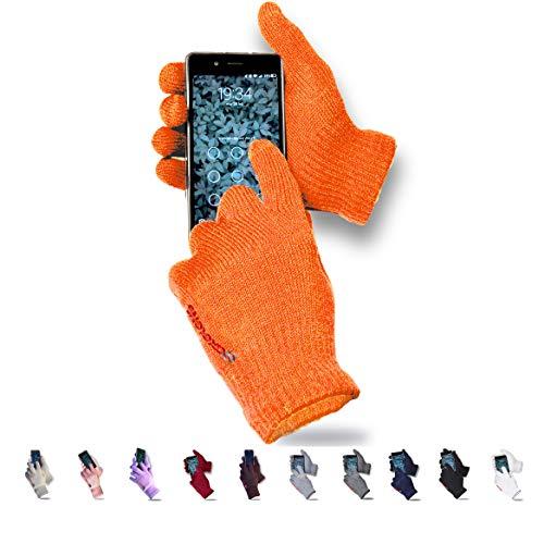AXELENS Guantes Táctiles Invernales Calientes Cómodos Unisex Interno de Suave Felpa - para Smartphones, Teléfonos Móviles y Tablets - Universales Hombre Mujer - Confección Regalo Incluida - Naranja