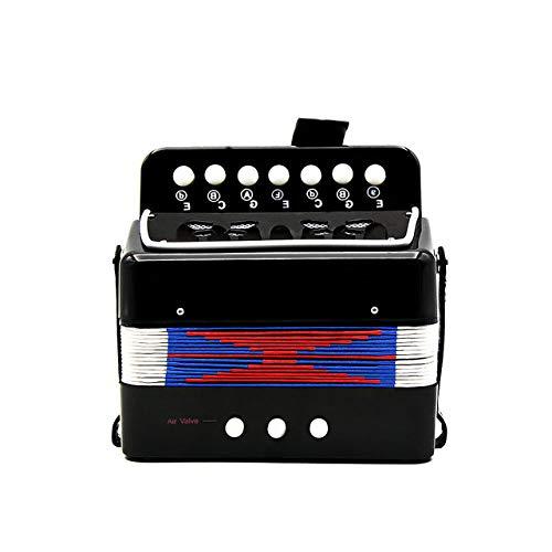 ABMBERTK 7-Tasten 2 Bass Mini kleines Akkordeon, pädagogisches Musikinstrument, Rhythm Band Toy, Schwarz
