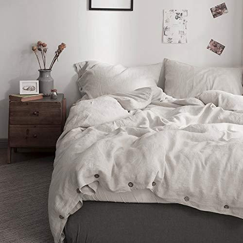 Simple&Opulence 100% Pure Linen Duvet Cover Set with Coconut Button Closure, 3 Pieces Soft Home Accessories Bedding with 1 Comforter Cover and 2 Pillowcases