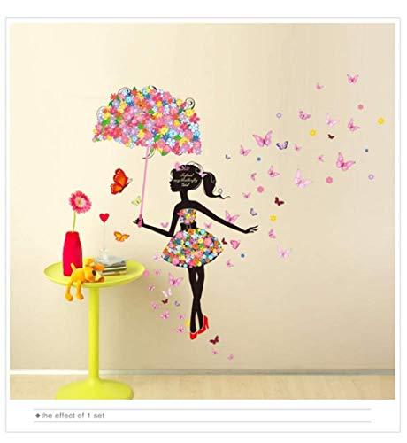 Fairy Girl Murals PVC DIY Bloem Elf Leuke Paraplu muurschilderingen voor Kids Kamer Baby Slaapkamer Decoratie