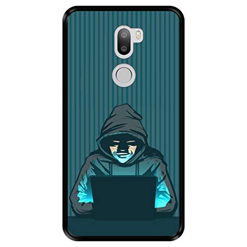 Funda Negra para [ Xiaomi Mi5s Plus - Mi 5s Plus ] diseño [ Hacker - en línea ] Carcasa Silicona Flexible TPU
