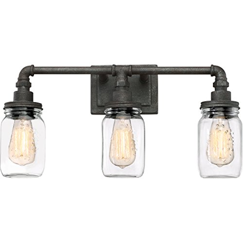 Quoizel SQR8603RK Squire Industrial Rustic Vanity Wall Lighting, 3-Light, 300 Watts, Rustic Black (11'H x 22'W)
