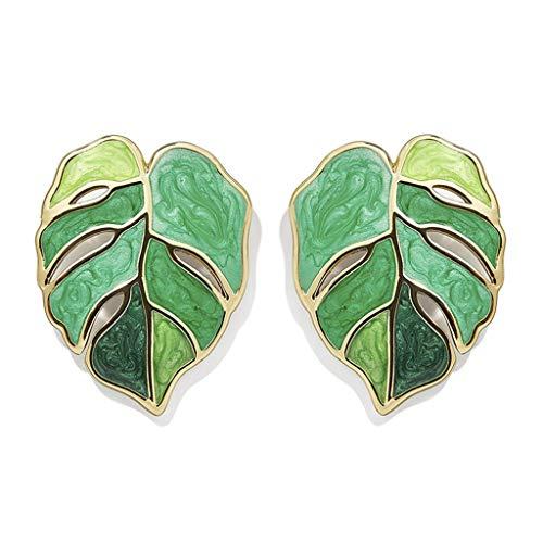 Njuyd - Pendientes de moda para mujer, diseño de flor y hojas esmaltadas, color verde