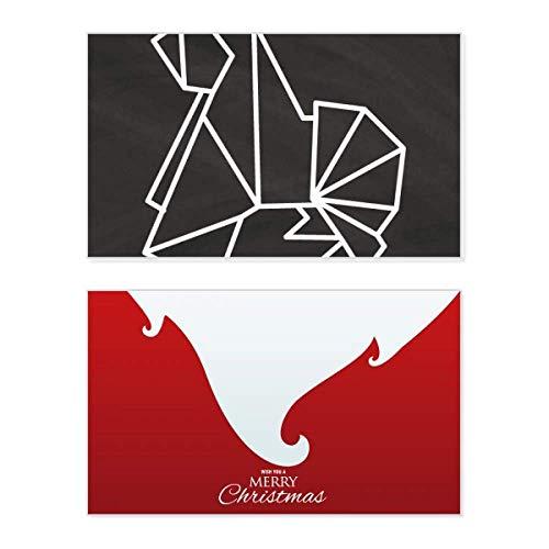 Tarjeta de Navidad con forma geométrica de perro de origami abstracto