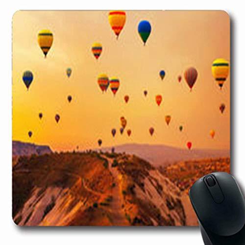 Luancrop Alfombras de Viaje Globos de Aire Caliente Deporte Montaña Turquía Globo Cueva Oblong Gaming Mouse Pad Alfombra Antideslizante de Goma