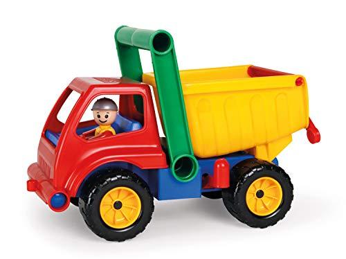 Lena LENA4350 Aktive LKW Kipper, Baustellenfahrzeug ca. 27 cm, robuster Kipplaster mit Haltegriff und beweglicher Spielfigur, Muldenkipper Spiel Set, Spielfahrzeug für Kinder ab 2 Jahre, Mehrfarbig
