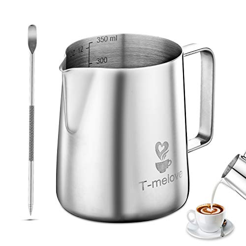 Tmelove Milk Frothing Pitcher Stainless Steel 304350ml/12ozS600ml/20ozM Coffee Milk Frother Cup with Decorating Art Pen 12oz / 350ml