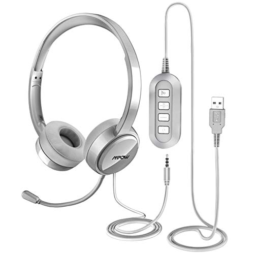 Mpow PC Headset, USB Headset/3.5mm Computer Headset, Stereo Sound Leicht PC Headset mit flexiblen Mikrofon, Telefon Headset für Skype Voip Teamspeak Mac PC Smartphone Tablet [Silber On-Ear Headset]