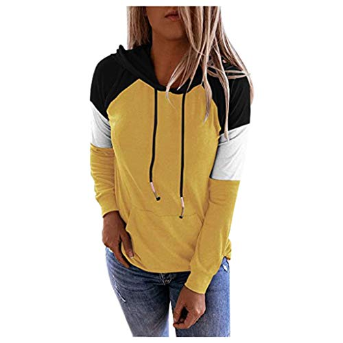 WUAI-Women Long Sleeve Pullover Hoodies Pullover Casual Lightweight Color Block Sweatshirts Comfy Fall Tops Tunics(Yellow,Large)