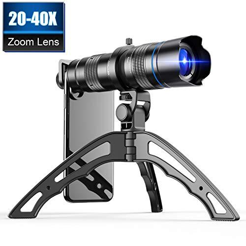 APEXEL HD 20-40X Zoom Objektiv mit Stativ Teleobjektiv Handy Objektiv Teleskop für iPhone Samsung andere Smartphones Jagd Camping Sport