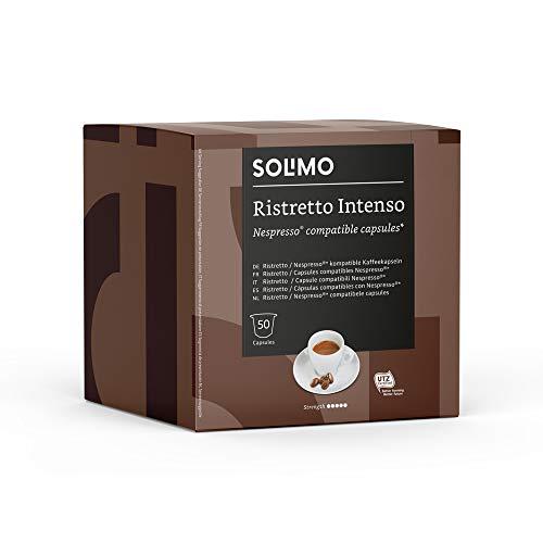 Marca Amazon - Solimo Cápsulas Ristretto Intenso, compatibles con Nespresso - 50 cápsulas
