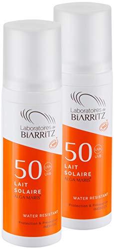 2er Pack Alga Maris Sonnenmilch LSF50 100ml | BIO zertifizierte Naturkosmetik von Laboratoires de Biarritz | mit Sofortschutz und ohne Weißeleffekt
