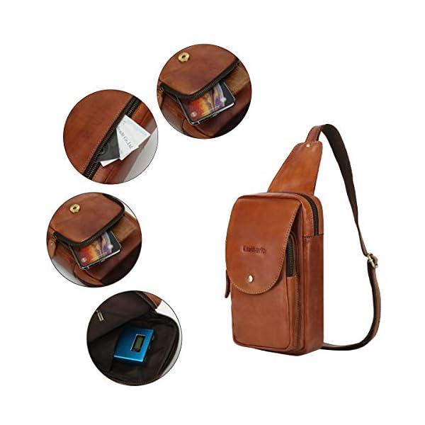 410bP6V6aHL. SS600  - Leathario Bolso Pecho Hombro Bandolera Cruzado Cuero Guenino Vintage de Trabajo para Hombres Mochila Pecho Piel Grande para Viaje Crossbody Sling Bag