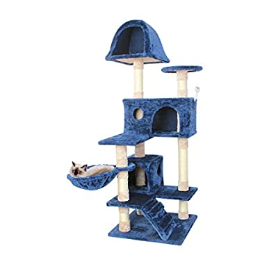 CUPETS Cat Tree Flannelette Cat Climber Pet Condo Furniture Multi-Level Activity Tree with Sisal Scratching Posts Suitable for Cats and Kittens 51 Inches High Blue